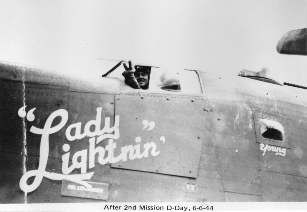 WWII bomber called Lady Lightnin' by its crew. Lt. Ray Zuker is the pilot.