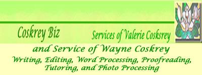 Valerie's Coskrey Biz header for the Web