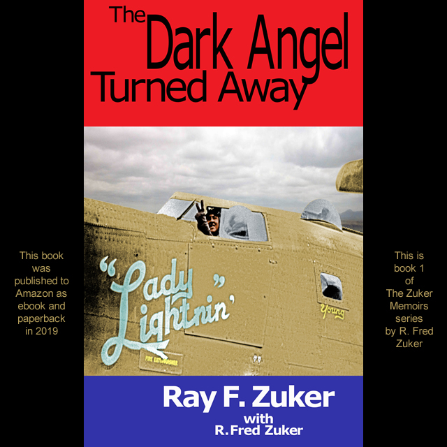 Book cover with Ray F. Zuker in his WWII bomber, a B-24